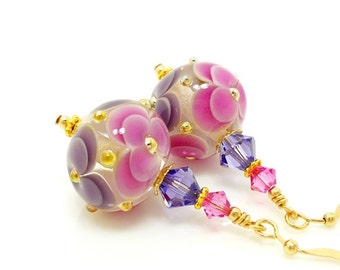 Pink Purple Earrings, Lampwork Earrings, Glass Bead Earrings, Glass Art Earrings, Floral Earrings, Unique Earrings, Flower Earrings