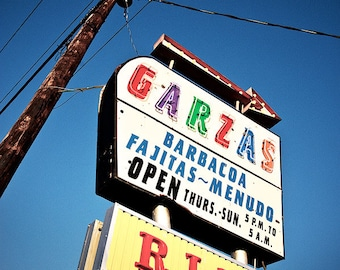 Garza's - Googie Restaurant Sign Photograph