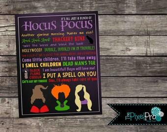 Hocus Pocus subway art printable, Halloween subway art decor printable file, DIY Hocus Pocus decor print, Hocus Pocus, holiday decorations
