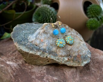 Flower Earrings, Czech Dahlia Flower with Blue Dragons Vein Agate, Handmade Jewelry, Gift Ideas for Her from The Hidden Meadow