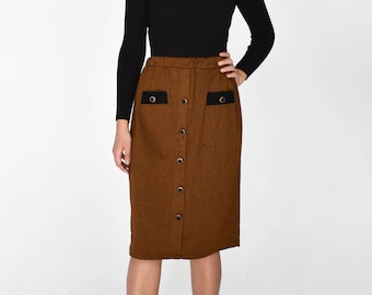 Vintage 1970s High Waisted Houndstooth Midi Skirt Button Down Faux Pocket
