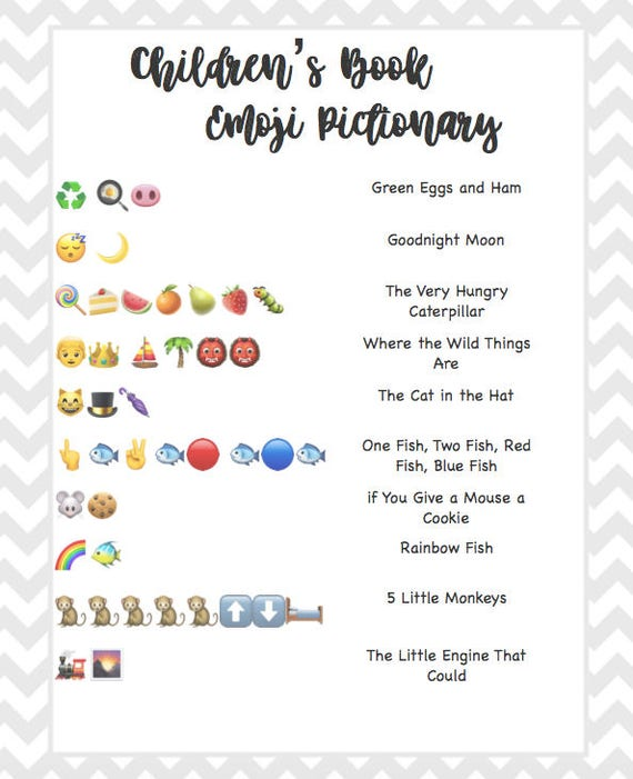 Children's Book Emoji Pictionary Baby Shower Grey Chevron
