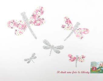 Appliqués thermocollants libellules en liberty Mitsi valéria rose orchidée et flex pailleté argent