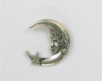 Sterling Silver Moonface & Star Charm