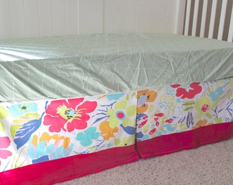 Bold Floral Pink Hot House Floral Custom Crib Skirt - Ready to Ship