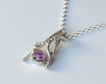 Sterling silver handmade twig style necklace with 8m checkered cut amethyst cabochon, hallmarked in Edinburgh