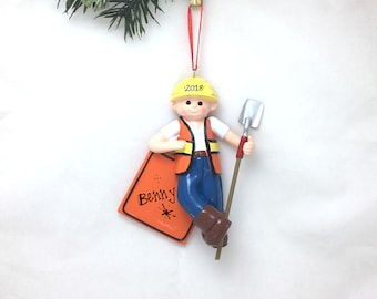 Construction Worker Personalized Ornament / Builder Ornament / Christmas Ornament / Child Gift / Toddler Gift