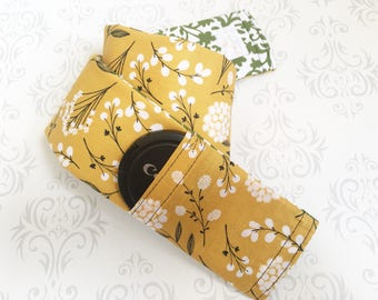 Reversible Camera Strap Cover with Lens Cap Pocket, Padded, Photographer Gift, DSLR Strap Cover - Cotton & Green Scroll
