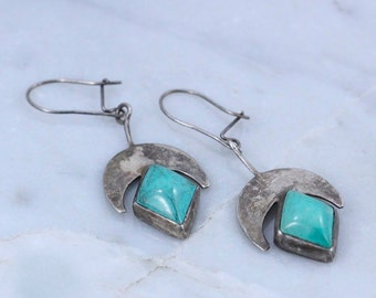 Vintage Sterling Silver Tribal CRESCENT MOON & TURQUOISE diamond shaped Earrings ~ Goddess / Sacred Feminine / witchy / festival