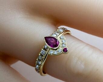 Ruby Wedding Set, Diamond Set, Diamond and Ruby Ring Set, Wedding Ring Set, Ruby Engagement Ring with Diamond Crown Ring