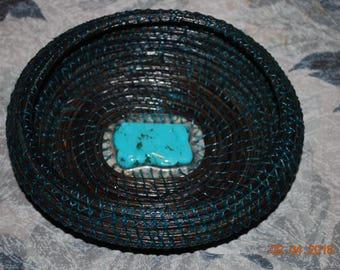 "Pine Needle Basket ""Midnight Turquoise"""