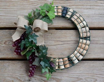 Wine Cork Wreath with Grapes, Cork wreath