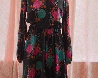 Vintage Dress - 80s Asian Inspired Floral Black Hot Pink