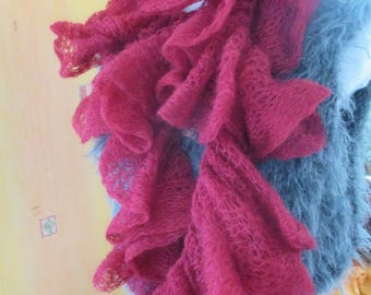 Burgundy Red mohair wool scarf, mothers day gift