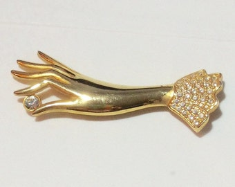 Cool Ladies Hand Pin With Rhinestone