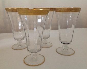 Vintage Tiffin Minton Clear Iced Tea Glasses (Stem 15083)