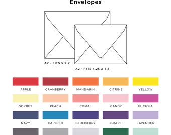 Euro Flap Colored Envelopes - A7 Invitation - A2 Thank You Cards - Set of 25