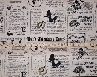 Lecien. Girl Story. Alice's Adventure Times Natural ~ 80 COTTON/20% LINEN - Choose your cut