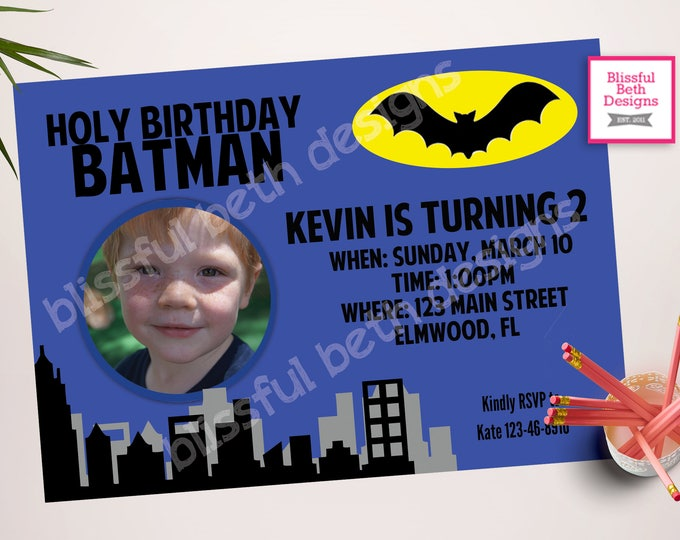 BATMAN INVITATION, Batman Birthday Invitation, Printable Batman Invitation, Printable Batman Photo Card, Batman Photo Invite