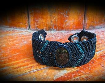 Rutilated quartz, tourmaline quartz, macrame bracelet, jewerly