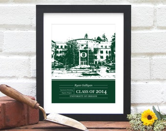 Gift for Graduate, Class of 2017, Graduation Gift, University or College Graduation Art, School Colors, Alumni Gift- 8x10 Art Print
