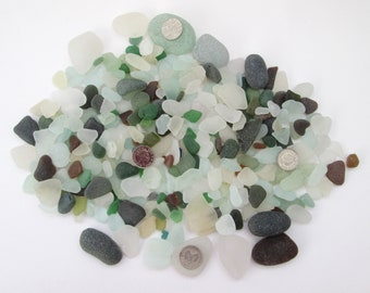 Surf tumbled English beach glass Cornwall Seaham sea glass eco craft supply jewelry making supplies 500g frosted white green brown