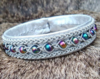 Sami Highstreet Fashion Bracelet YDUN Lapland Viking Silver Leather Cuff Bracelet with Rainbow Hematite Beads and Pewter Braids Handcrafted