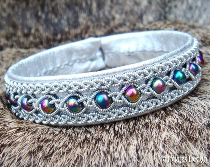 Sami Highstreet Fashion Bracelet YDUN Lapland Viking Silver Leather Cuff Bracelet with Rainbow Hematite Beads and Pewter Braids Handcrafted