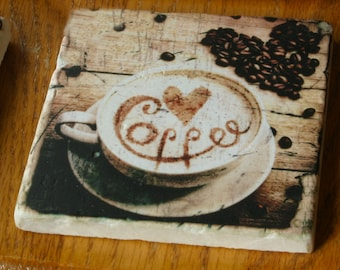 Wonderful sublimated Marble Coaster with 4 different  Coffee Designs!