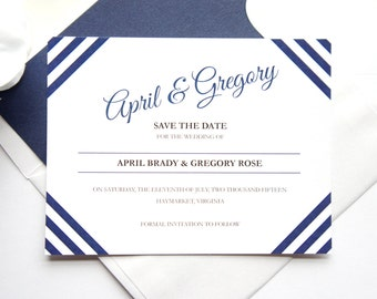 Blue Save the Date - Modern Save the Date Cards, Stripes, Modern Save the Dates, Navy Blue Save the Date - DEPOSIT