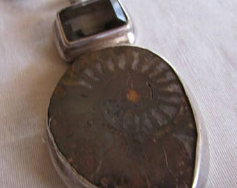 Sterling Silver and Nautilus Fossil Pendant