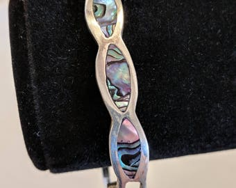 Native America Indian Jewelry, Silver and Abalone Bracelet, Silver Jewelry, Abalone Jewelry, American