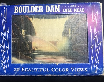 "Vintage Set of 20 Mini Postcards- ""Boulder Dam"" (Hoover Dam) and Lake Mead"
