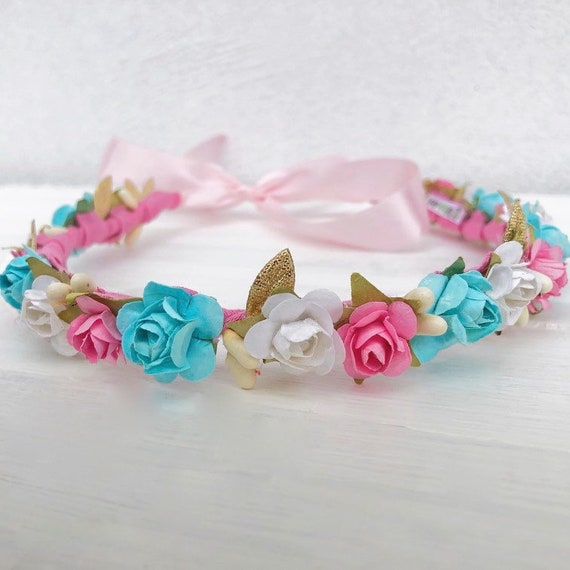 Flowers Crown, Baby Crown, Crown for pictures, Infant Headband, Pink Headband, Blue Headband, Handmade Crown, Unique Crown