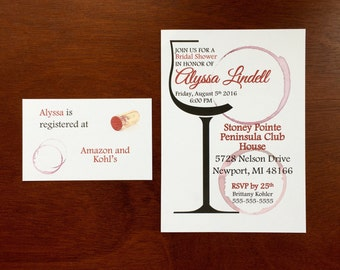 Wine tasting Bridal Shower Invitations, wine stained invites