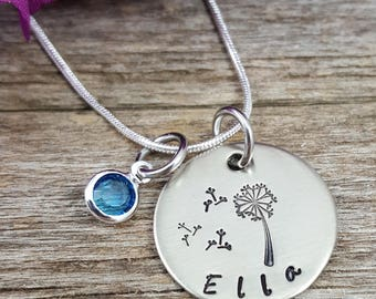 Dandelion Necklace with birtstone - Daughter necklace, child jewelry, little kid necklace, little girl necklace, make a wish jewelry