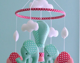 Nursery Baby Elephant Mobile / Hot Air Balloon Mobile/ Pink Green Mobile / Made To Order