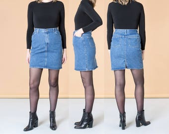 DENIM MINI SKIRT jean skirts vintage Pencil Pockets Gitano 90S women basics / Size 8 9 / Waist 29 Inch