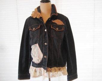 Lace doily jean jacket, upcycled jean jacket, repurposed refashioned, boho chic jean jacket, bohemian jacket, medium to large