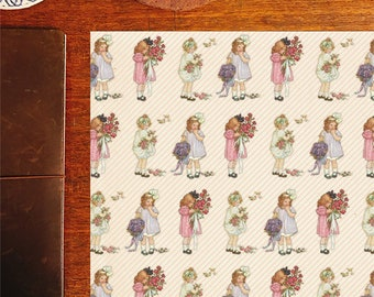 Pretty little girls, retro vintage style papers for wrapping, scrapbooking, or paper crafting!