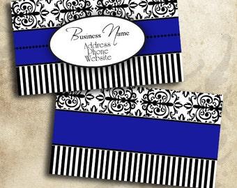 Blue Black & White Damask Business Card Template Digital INSTANT DOWNLOAD 3.5 x 2 Inches Calling Card Elegant Design (BC21)