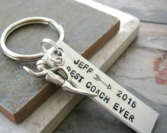 Personalized Coach Keychain, Swimming Keychain, swimmer charm, choose your sport, sports, swimming coach gift, swimmer gift