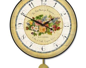 Emile Floral Pendulum Wall Clock