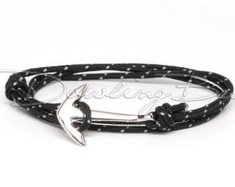 Silver Anchor Bracelet on Reflective Black Rope