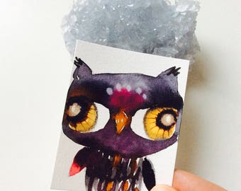 Owl mini painting - Watercolor owl, owl miniature, original painting, animal watercolor, illustration, owl spirit animal, sweet and precious