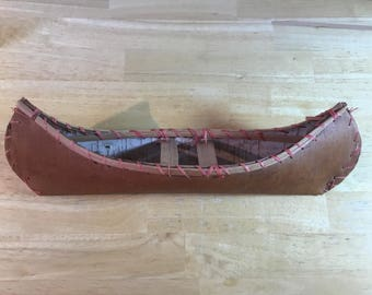 Birch Canoe Canadian Indian Decor Wood Toy