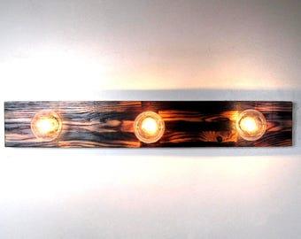 Bathroom Light Fixture Vanity Reclaimed Wood Custom (3) Bulb, Bathroom, Wall, Fixture Handmade in MI Oak