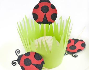 Ladybug Cupcake Toppers, Ladybird Cupcake toppers, Ladybug Party, Grass Cupcake Wraps