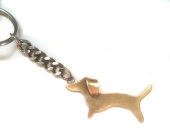 Dachshund Keychain with Flipped Ear - Brass
