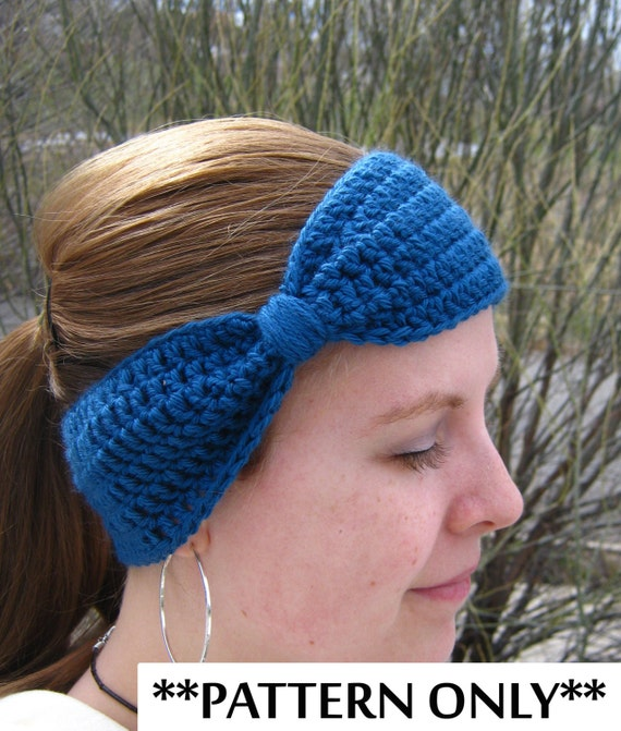 Crochet Pattern For Bow Headband Ear Warmer For Adult Women